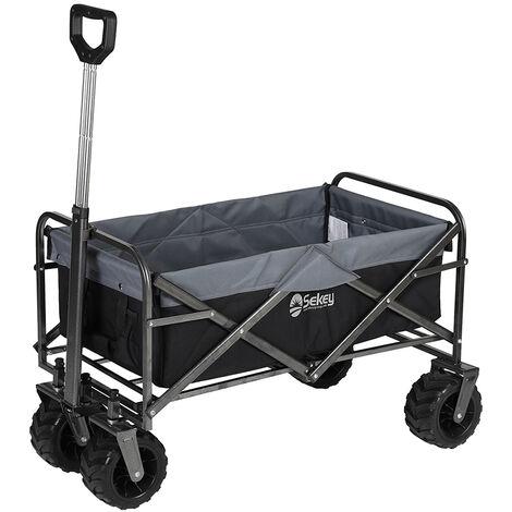 Sekey Charrette de Transport Pliable Chariot de Transport Jardin Chariot de Plage Tout Terrain Brouette extérieure Panier Chariot Remorque de Jardin extérieur