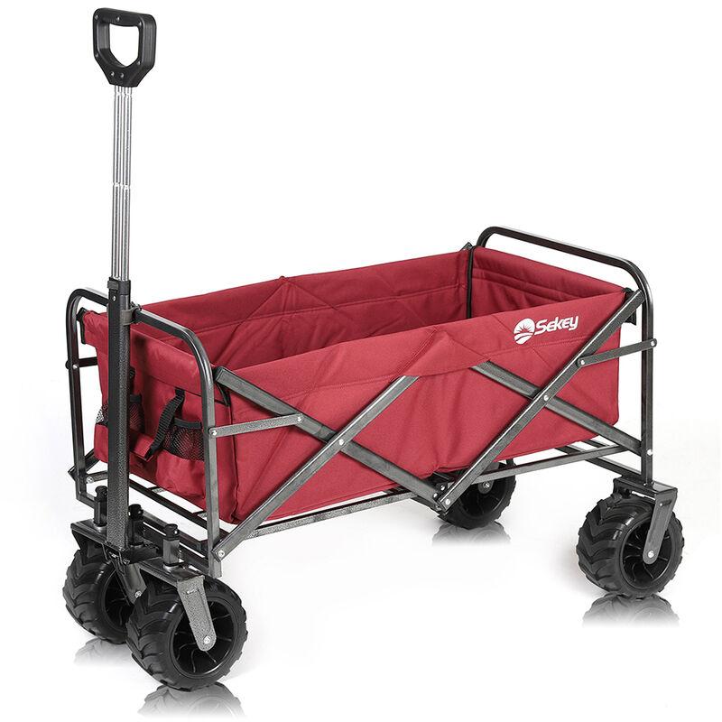 Salcargmbh - Charrette de Transport Pliable, Chariot de Plage Tout Terrain, Chariot Remorque de Jardin extérieur Rouge