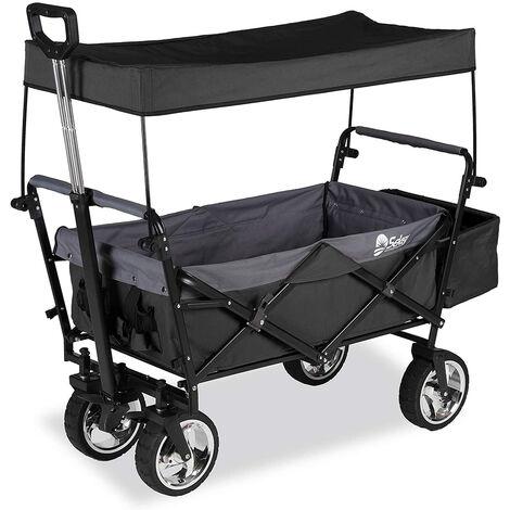 Sekey Charrette de Transport Pliable Chariot de Transport Jardin Chariot de Plage Tout Terrain Brouette extérieure Panier Chariot Remorque Rouge