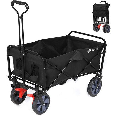 Sekey Faltbarer Bollerwagen mit Bremsen Faltbar Handwagen Klappbar Gartenanhänger Gartenwagen Transportwagen für alle Untergründe geeignet