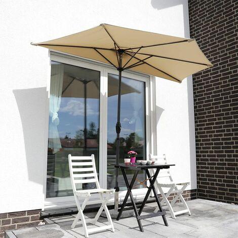 Sekey Outdoor 2.7m Demi Parasol en Acier Parasol Une verrière 100% Polyester