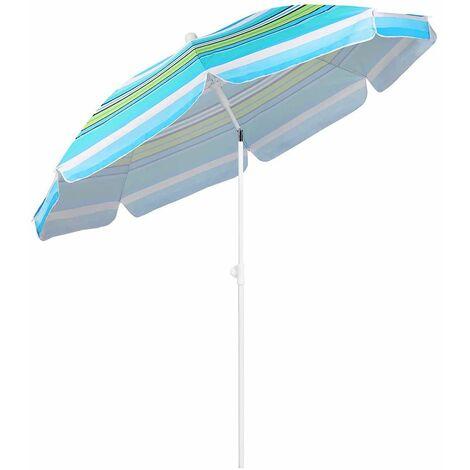 Sekey Parasol à Rayures Rond 200 cm, Protection Solaire UV25+, pour marché, Jardin, terrasse