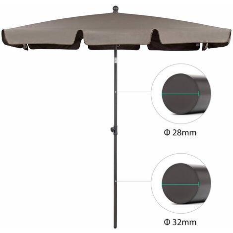 Sekey Parasol de Jardin 200 x 125 cm - Protection Solaire UV 50+