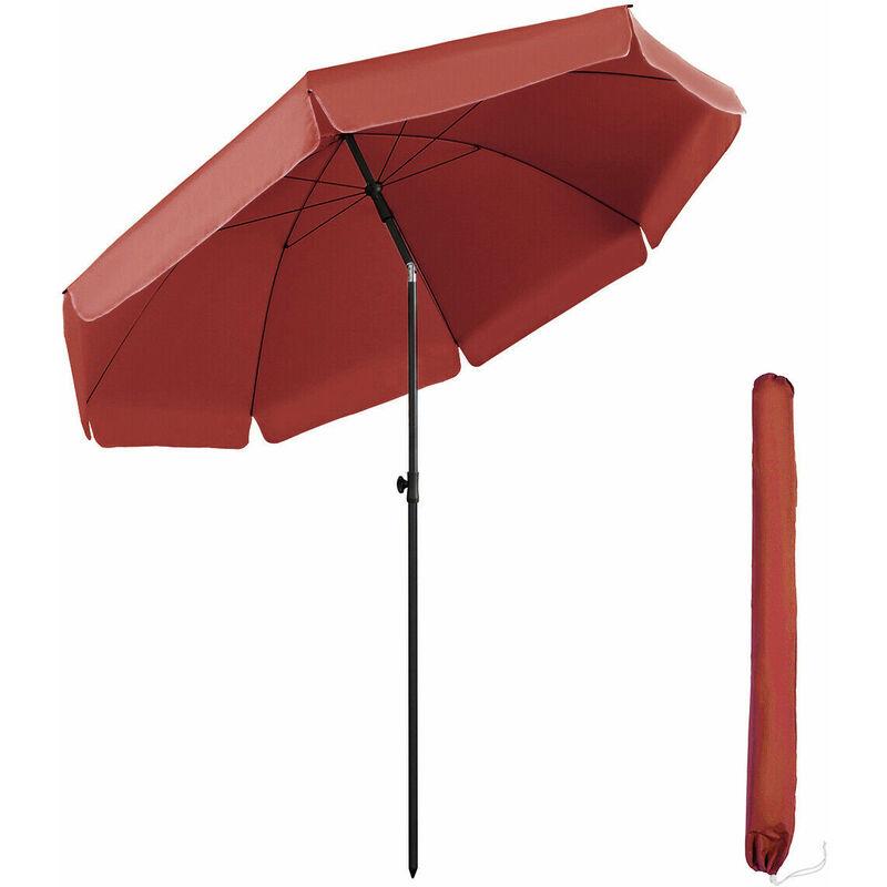 parasol terrasse Rond Ø 217 cm (longue d'arc 240 cm) UV25+, Rouge - Sekey