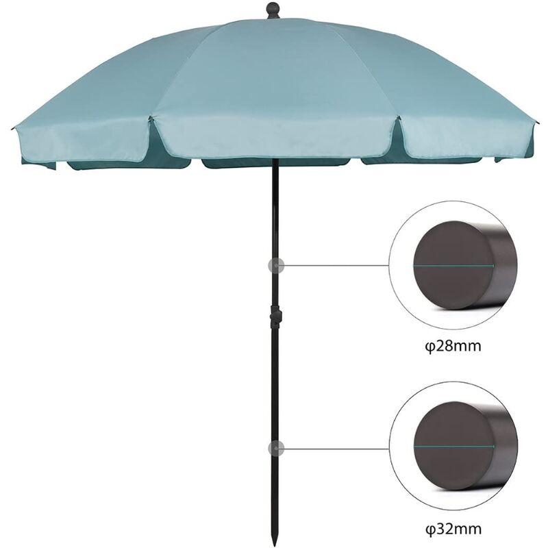 parasol terrasse Rond Ø 217 cm (longue d'arc 240 cm) UV25+, Bleu - Sekey