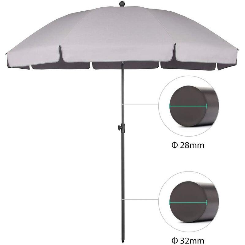 parasol terrasse Rond Ø 217 cm (longue d'arc 240 cm) UV25+, Gris clair - Sekey