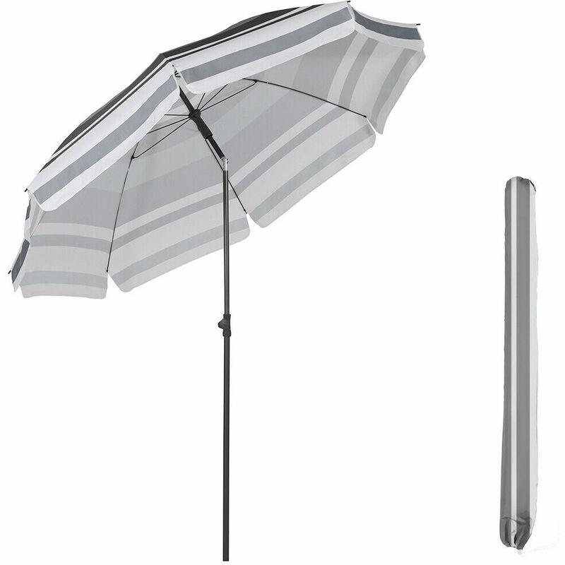 parasol terrasse Rond Ø 217 cm (longue d'arc 240 cm) UV25+, Gris et blanc - Sekey