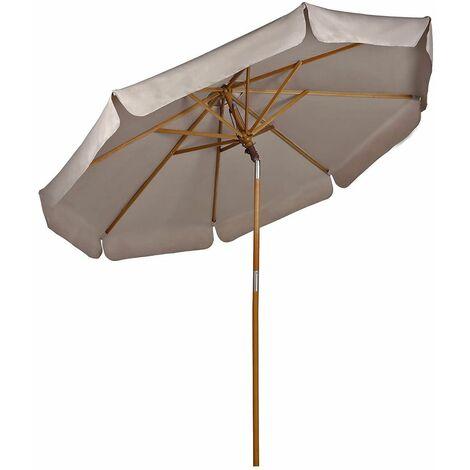 Sekey® Parasol en Bois inclinable pour Patio Jardin Balcon Piscine Plage Ø 270 cm Rond Beige/Taupe protection solaire UV50+