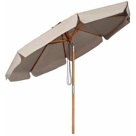 Sekey Parasol en Bois inclinable pour Patio Jardin Balcon Piscine Plage Ø 300 cm Rond Sunscreen UV50+