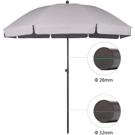 Sekey parasol terrasse Rond Ø 240 cm UV25+, Gris clair