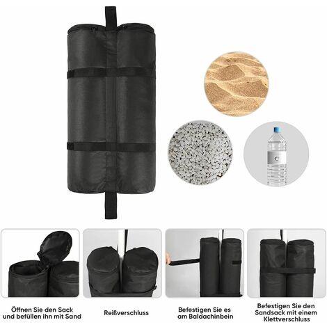 Sekey Sacs de Sable, Sacs de Poids pour Tonnelle de Jardin 4 Pièces Noir 26 × 13 × 46 cm