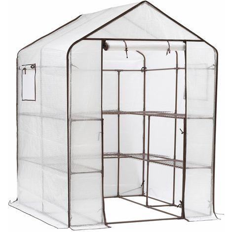 Sekey Serre de Jardin pour tomates, Plante Serre Tente d'extérieur, Serres en Plastique, 10 tablettes, 143 x 143 x 195 CM