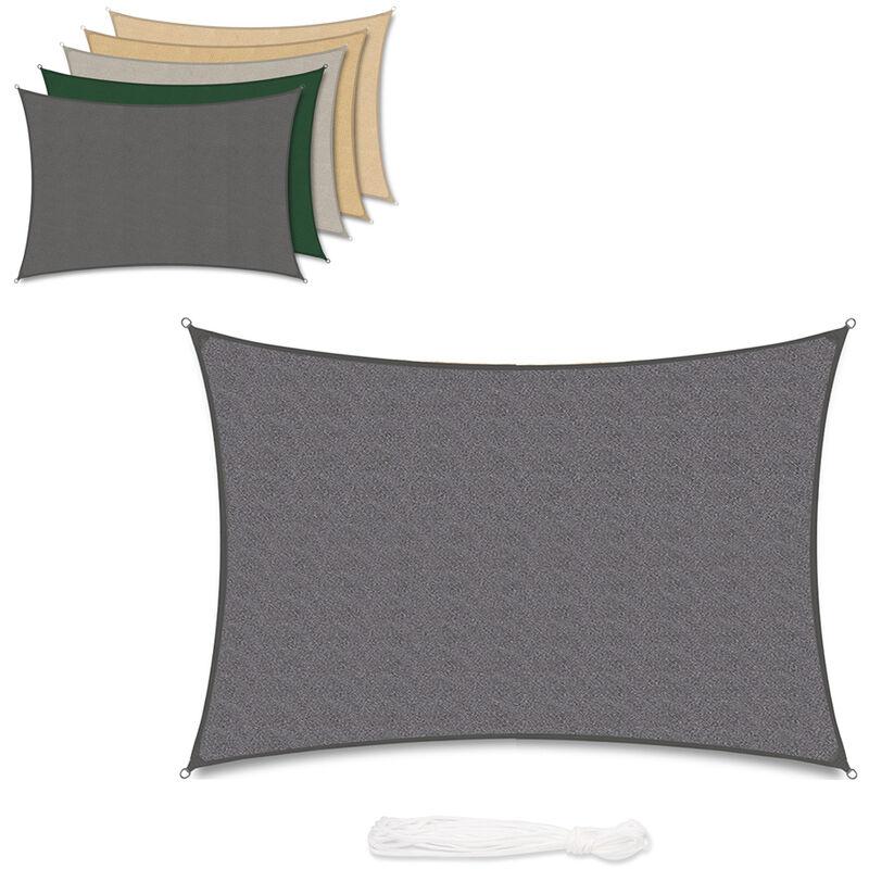 Voile d'ombrage HDPE Perméable Une Protection des Rayons UV, Résistant et Respirant Anthracite 2×3m