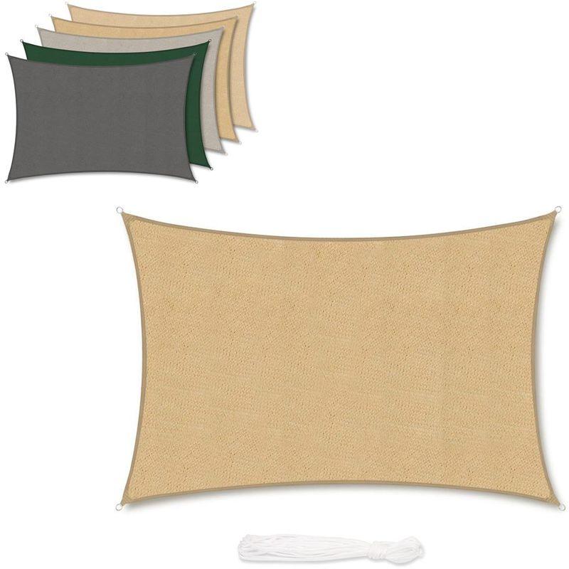 Voile d'ombrage HDPE Perméable Une Protection des Rayons UV, Résistant et Respirant Sable 3×5m