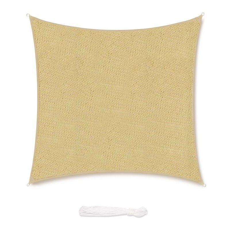 Voile d'ombrage HDPE Perméable Une Protection des Rayons UV, Résistant et Respirant Sable 3.6×3.6m