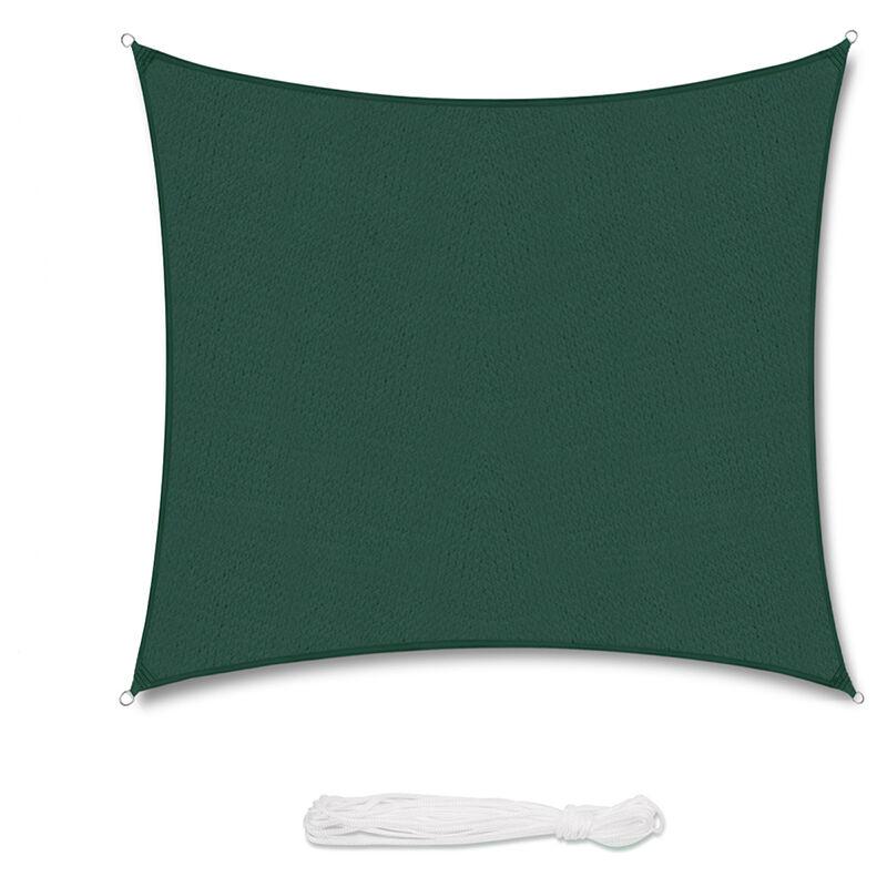 Voile d'ombrage HDPE Perméable Une Protection des Rayons UV Verte 3×3m