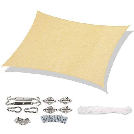 Sekey Voile d'ombrage HDPE Une Protection des Rayons UV avec Corde Libre et Kit de Montage