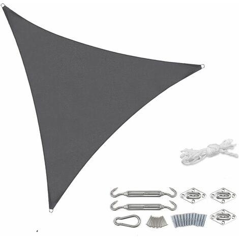 Sekey Voile d'ombrage PES avec kit de montage 3,6 × 3,6 × 3,6 m, Anthracite