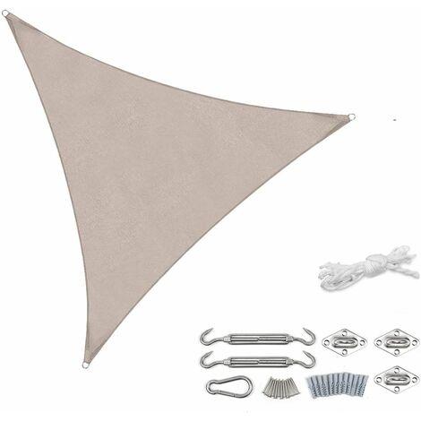 Sekey Voile d'ombrage PES avec kit de montage 3,6 × 3,6 × 3,6 m, Taupe