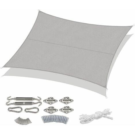 Sekey Voile d'ombrage PES avec kit de montage 4×5m, Gris clair