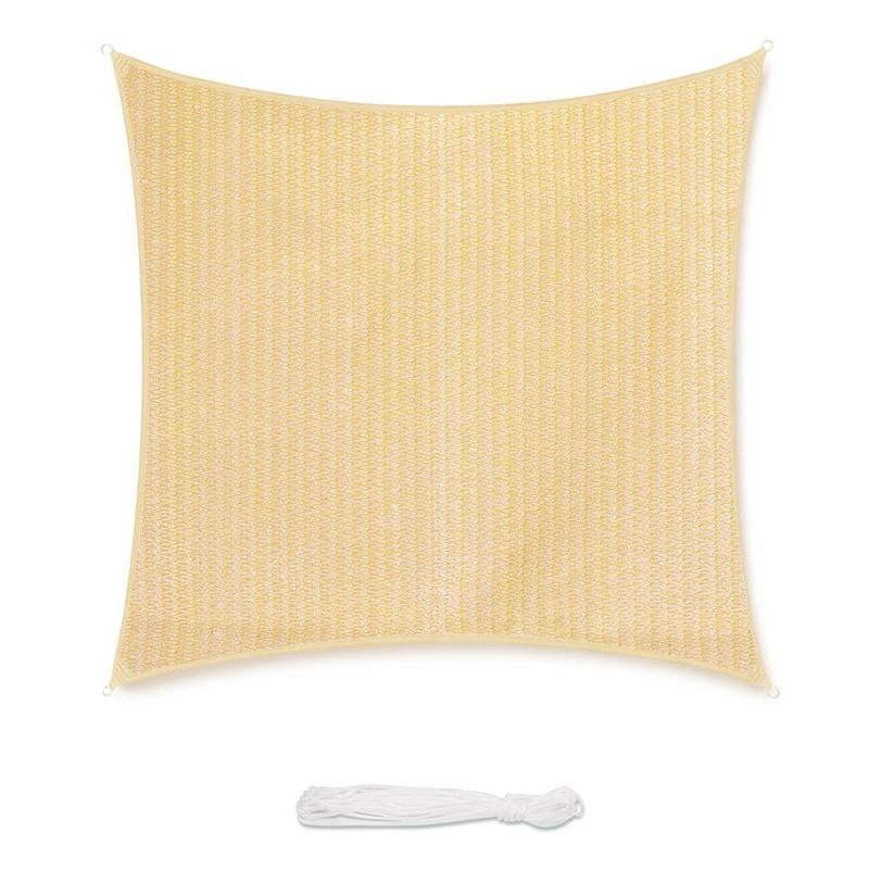 Voile d'ombrage HDPE Perméable pour Jardin Terrasse Camping Fête Piscine, Une Protection des Rayons UV Beige 3×3m