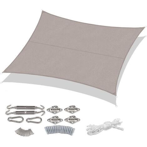 Sekey Voile d'ombrage Rectangulaire Imperméable Une Protection des Rayons UV, Résistant et Respirant pour Jardin Terrasse Camping Fête Piscine, avec Corde Libre, 2×3m