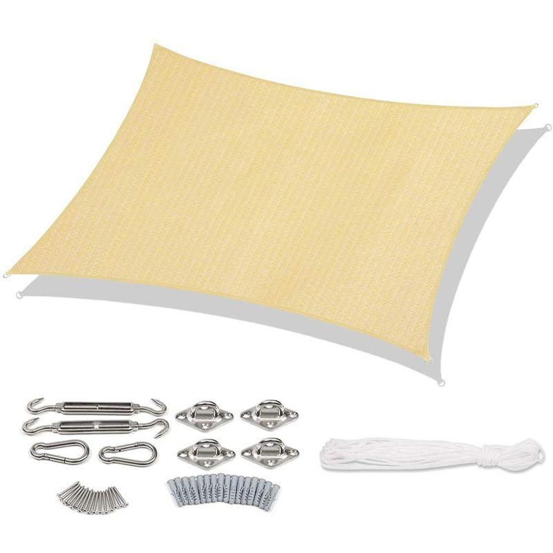 Voile d'ombrage HDPE Perméable Une Protection des Rayons UV avec Corde Libre et Kit de Montage 2×3m Beige