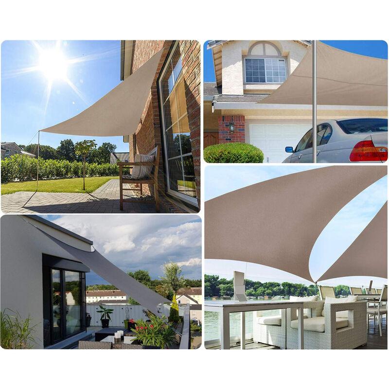 Voile d'ombrage Triangulaire Imperméable Une Protection des Rayons UV, Résistant et Respirant 3×3×3m Taupe