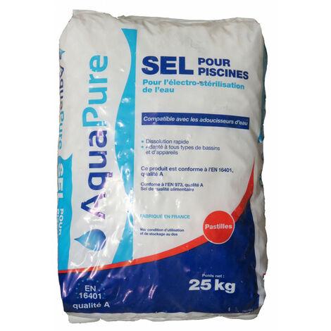 Sel pastilles en sac de 25 kg, sel piscine AQUAPURE.