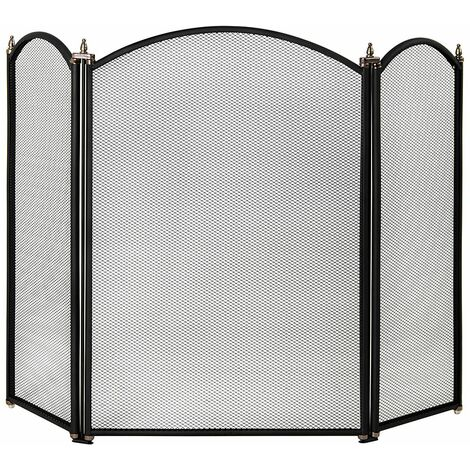 Selby 3 Panel Fire Guard, Black