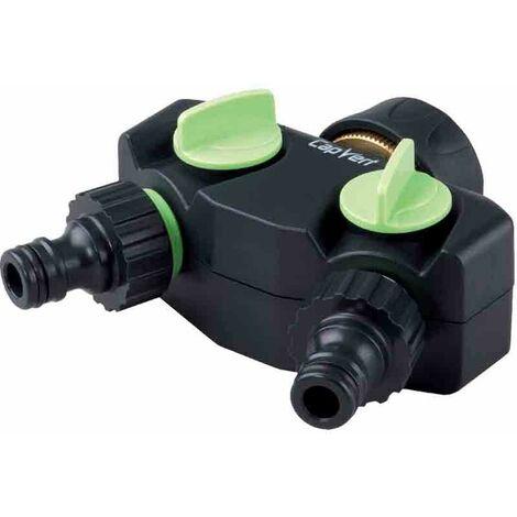 Sélecteur d'arrosage 2 voies sur robinet 20 x 27 mm