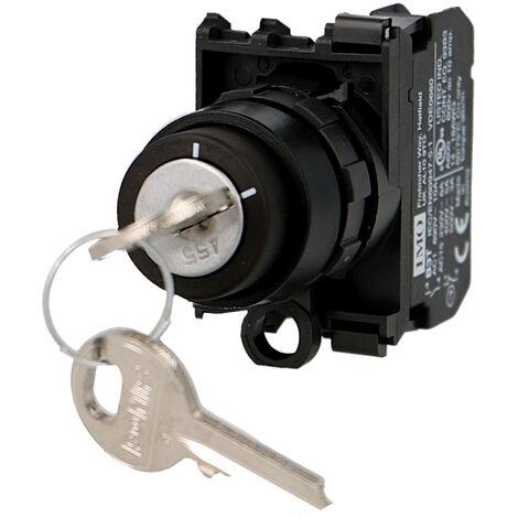 Sélecteur rotatif 2 positions à clé complet Ø22mm, 1NO