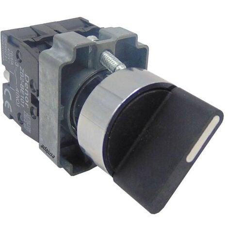 Selector 3 posiciones metálico con retorno 2 contactos abiertos (NA) completo