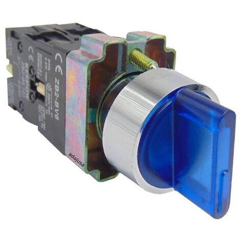 Selector luminoso azul 2 posiciones metalico completo 1 contacto abierto NA