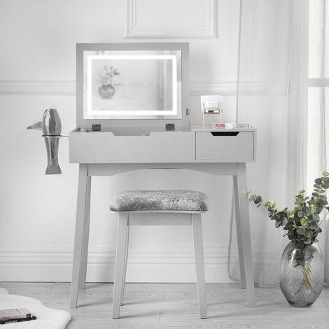 Selena Grey Flip Top LED Mirror Dressing Table
