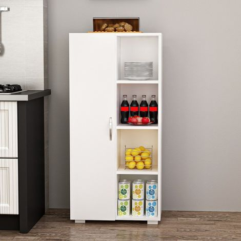 Selery Multiuse Cabinet - with Door, Shelves - for Living Room, Kitchen, Hall - White, made in Wood, 60 x 30 x 127 cm