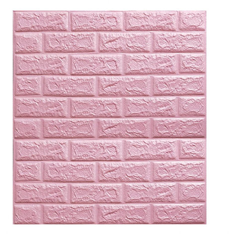 Self-adhesive 3D Brick Wall Sticker Panel Wallpaper Pink Waterproof Foam 70 * 77cm