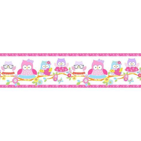 Self Adhesive Border Olive the Owl Pink Design Kids Bedroom Girls Wallpaper