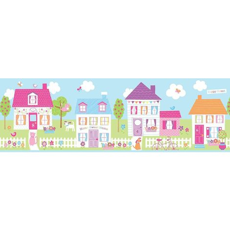 Self Adhesive Happy Street Wallpaper Border Kids Bedroom Nursery Puppy Kitten