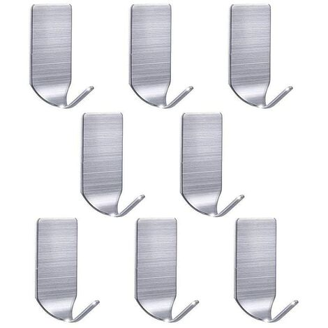 Self Adhesive Hooks Stick on Hooks Strong Sticky Hooks Wall Hangers Stainless Steel Waterproof Hooks For Hanging Kitchen Bathroom Office Closet Home (Pack of 8)