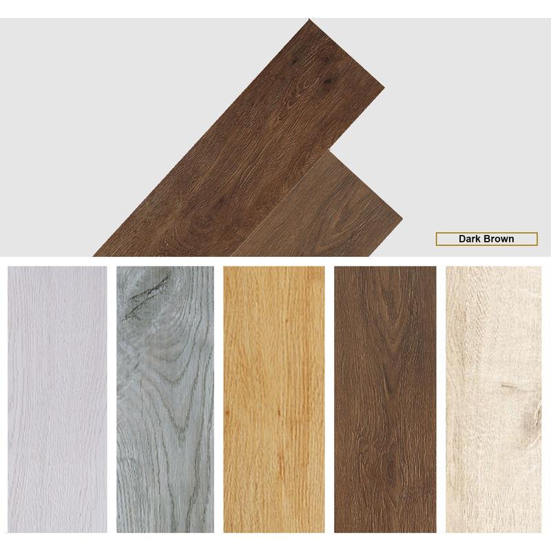 Image of Easyfloor - Self adhesive PVC Floor Planks Tiles Dark Brown