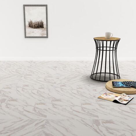 Self-adhesive PVC Flooring Planks 5.11 m² White Marble