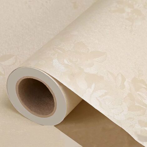 Self Adhesive Thickness Wallpaper Monochrome Embossing In The European Style Living Room Living Room Dormitory Room Wall Wall Paper Sticker Stickers Beige Wall Pink 3 meters