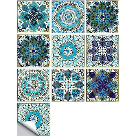 """main image of """"Self Adhesive Tile Wallpaper, PVC Modern Style Self Adhesive Wall Stickers Waterproof Home Decoration for Bathroom Kitchen Walls Stairs (15 * 15CM) SOEKAVIA"""""""