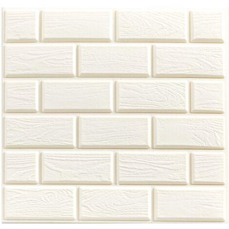 Self-adhesive wallpaper anti-collision foam wallpaper 3D wall sticker in three dimensions self-adhesive wallpaper (LANST) white 32 * 32cm (10pcs)
