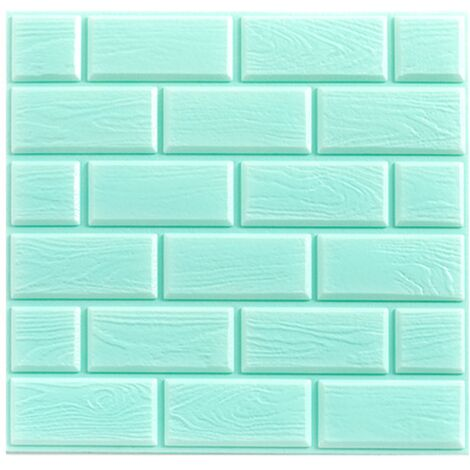 Self-adhesive wallpaper anti-collision foam waterproof wallpaper 3D three-dimensional wall-dimensional wallpaper (LANSTER) light blue 32 * 32cm (10pcs)