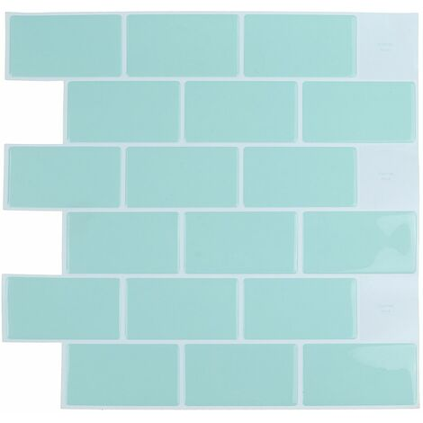 Self Adhesive Wallpapers Tiles PVC Wall Stickers (light green, 30.5cm / 12in)