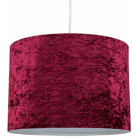 Self Assembly Large Modern Cylinder Ceiling Pendant / Table Lamp Drum Light Shade in a Burgundy Crushed Velvet Finish 10w LED Bulb Warm White