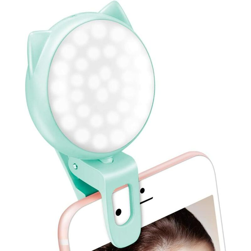 Selfie Clip on Ring Light, Mini Rechargeable 9 Level Adjustable Brightness Circle Light with 32 LED, Max 8 Hrs, USB Photo Flash Light for Cell Phone