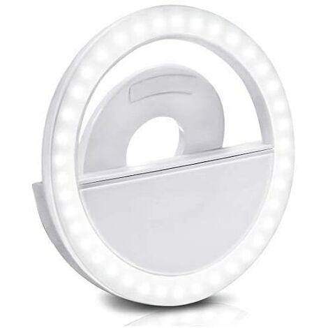 Selfie LED Light Selfie Clip Luz recargable, Light Anillo de anillo Regulable Luces recargables Iluminación portátil para computadora portátil, cámara